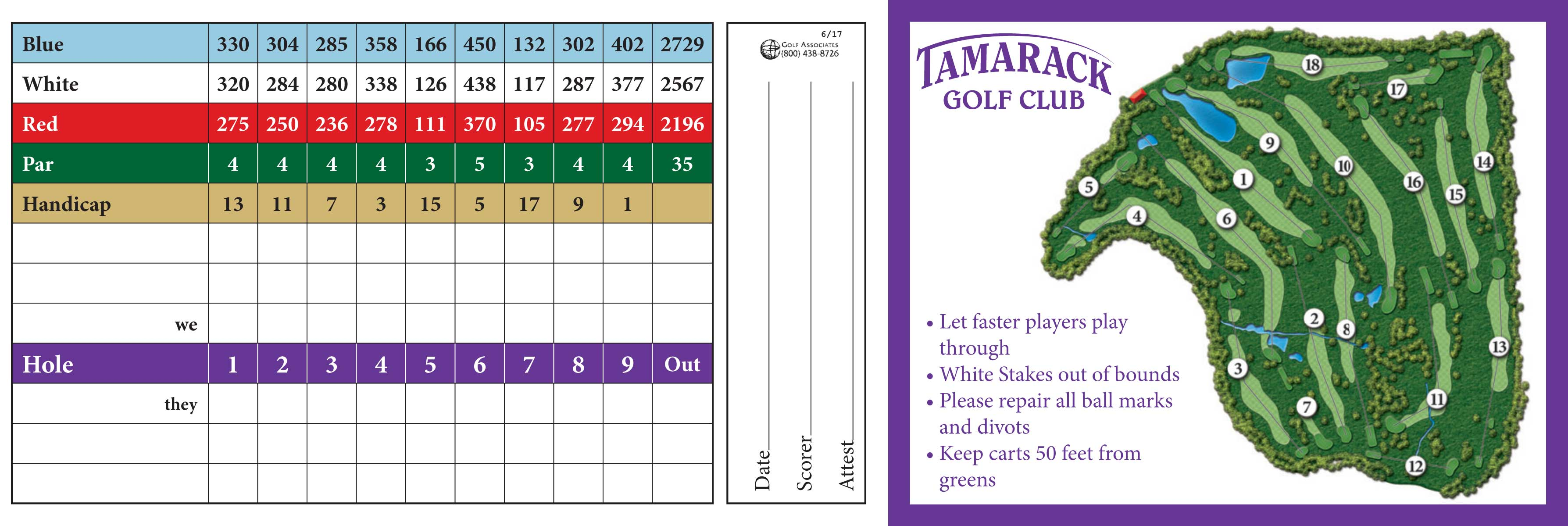 Image of the front of the score card at Tamarack Golf Club in Oswego, NY.