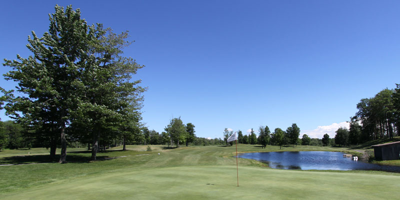 Photo of Par 4 Hole 9 at Tamarack Golf Club in Oswego, NY.